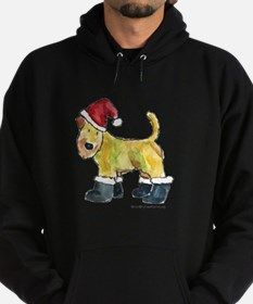 Wheaten terrier playing Santa Hoodie (dark)