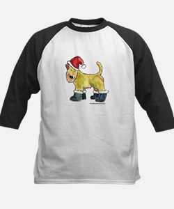 Wheaten terrier playing Santa Kids Baseball Jersey