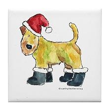Wheaten terrier playing Santa Tile Coaster
