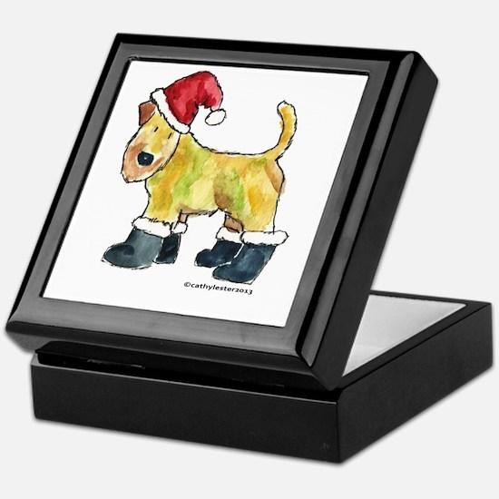 Wheaten terrier playing Santa Keepsake Box