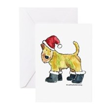 Wheaten terrier playing Santa Greeting Cards (Pk o