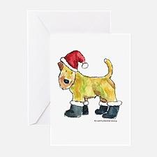 Wheaten terrier playing Santa Greeting Cards (Pk o
