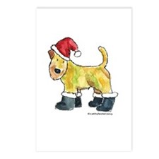 Wheaten terrier playing Santa Postcards (Package o
