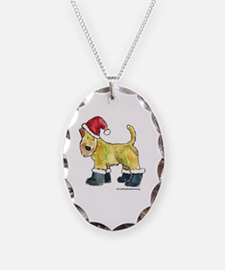Wheaten terrier playing Santa Necklace