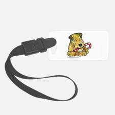 Wheaten terrier with Candy Cane Luggage Tag