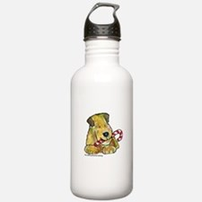 Wheaten terrier with Candy Cane Water Bottle