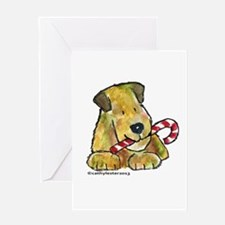 Wheaten terrier with Candy Cane Greeting Card
