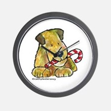 Wheaten terrier with Candy Cane Wall Clock