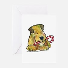 Wheaten terrier with Candy Cane Greeting Cards (Pk