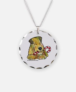 Wheaten terrier with Candy Cane Necklace