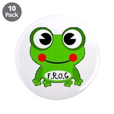 """Cute Frog Fully Rely On God buttons 3.5"""""""