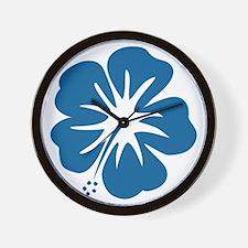 Blue Hibiscus Wall Clock
