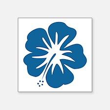 """Blue Hibiscus Square Sticker 3"""" x 3"""""""