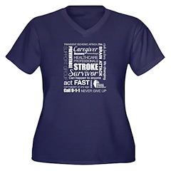 Word Cloud Women's Plus Size V-Neck Dark T-Shirt