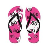 50th birthday women Flip Flops