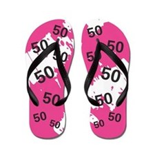 Pink 50th Birthday Gag Gift Flip Flops