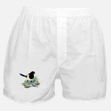Watercolor Magpie Bird Nature Art Boxer Shorts