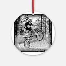 Fun in the woods dirt biking Ornament (Round)