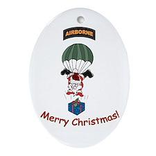 Airborne Santa Oval Ornament