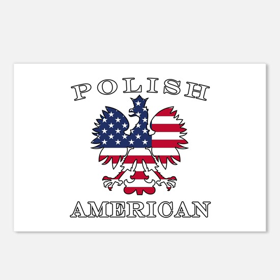 Polish American Flag Eagle Postcards (Package of 8