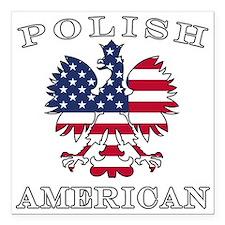 "Polish American Flag Eagle Square Car Magnet 3"" x"
