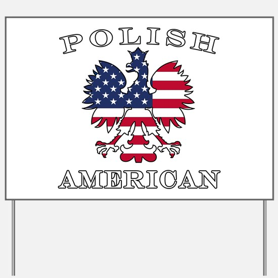 Polish American Flag Eagle Yard Sign
