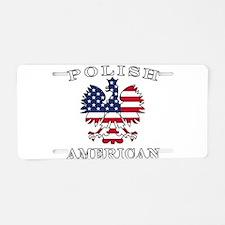 Polish American Flag Eagle Aluminum License Plate