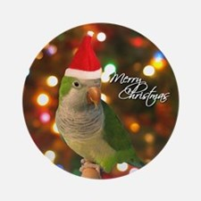Merry Christmas Santa Quaker Parakeet Ornament