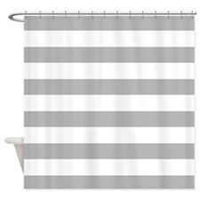 Light Gray and White Bold Stripes Shower Curtain