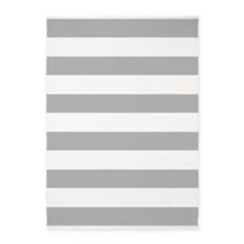 Light Gray and White Bold Stripes 5'x7'Area Rug