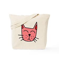 Red Cat Face Tote Bag