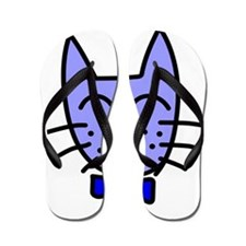 Blue Cat Face Flip Flops
