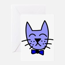 Blue Cat Face Greeting Card