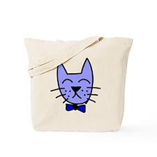Blue Cat Face Tote Bag