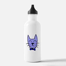 Blue Cat Face Water Bottle