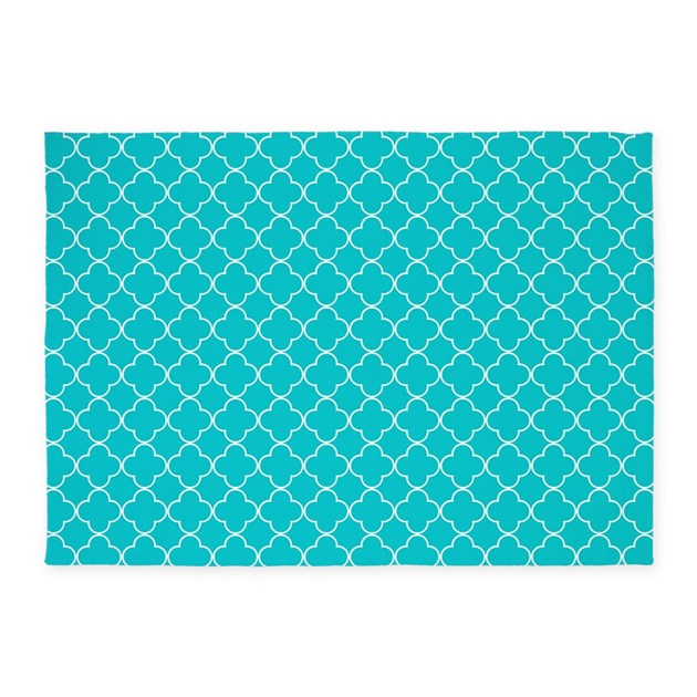 Teal White Quatrefoil 5'x7'Area Rug by DreamingMindCards