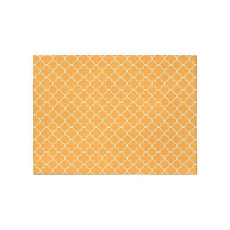 Orange White Quatrefoil 5'x7'Area Rug