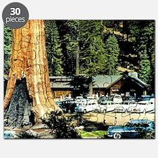 Retro Red Wood Park Puzzle