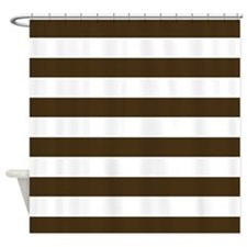 Brown and White Bold Stripes Shower Curtain