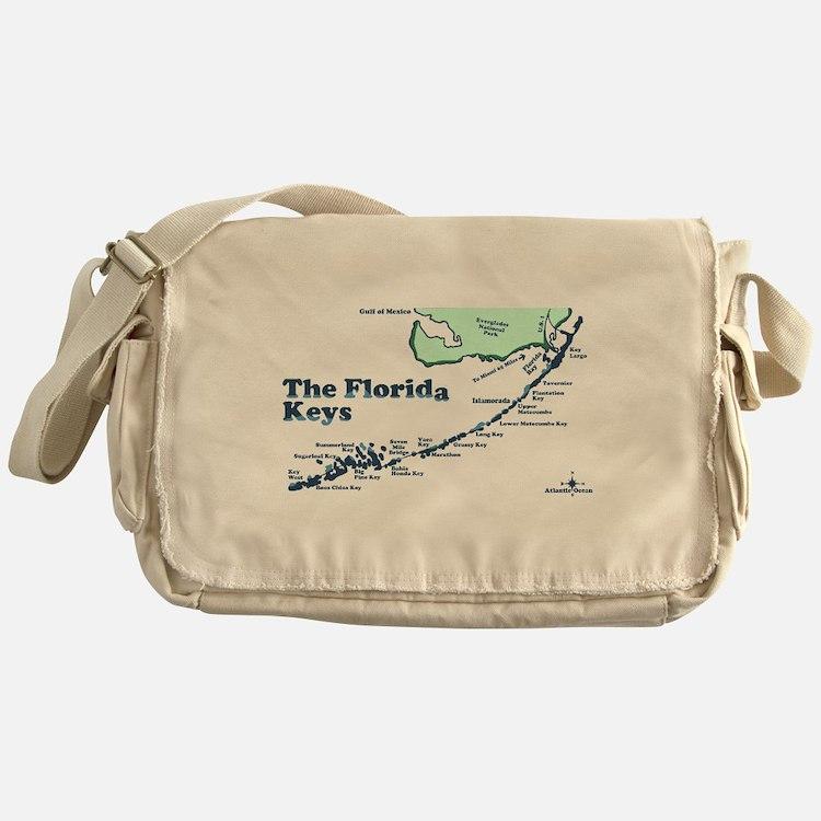 Florida Keys - Map Design. Messenger Bag