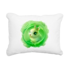 Cute Bunny in Green Rectangular Canvas Pillow