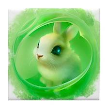 Cute Bunny in Green Tile Coaster