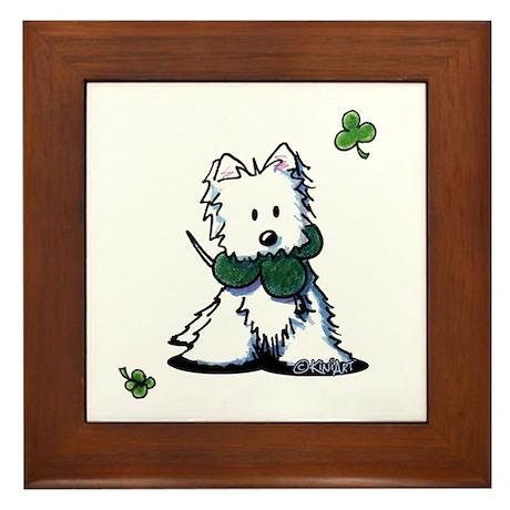 Lucky Clover Westie Framed Tile