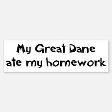 Great Dane ate my homework Bumper Bumper Bumper Sticker