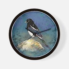 Watercolor Magpie Bird Art Wall Clock
