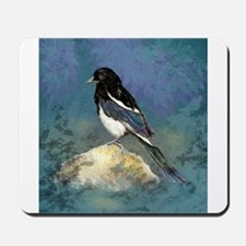 Watercolor Magpie Bird Art Mousepad