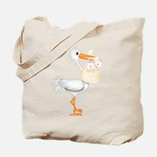 STORK WITH TWIN GIRLS Tote Bag