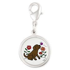 Chocolate Labrador and Green Charms