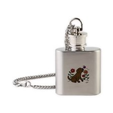 Chocolate Labrador and Green Flask Necklace