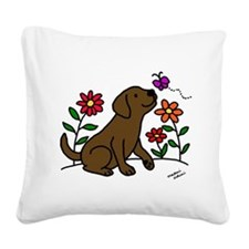 Chocolate Labrador and Green Square Canvas Pillow